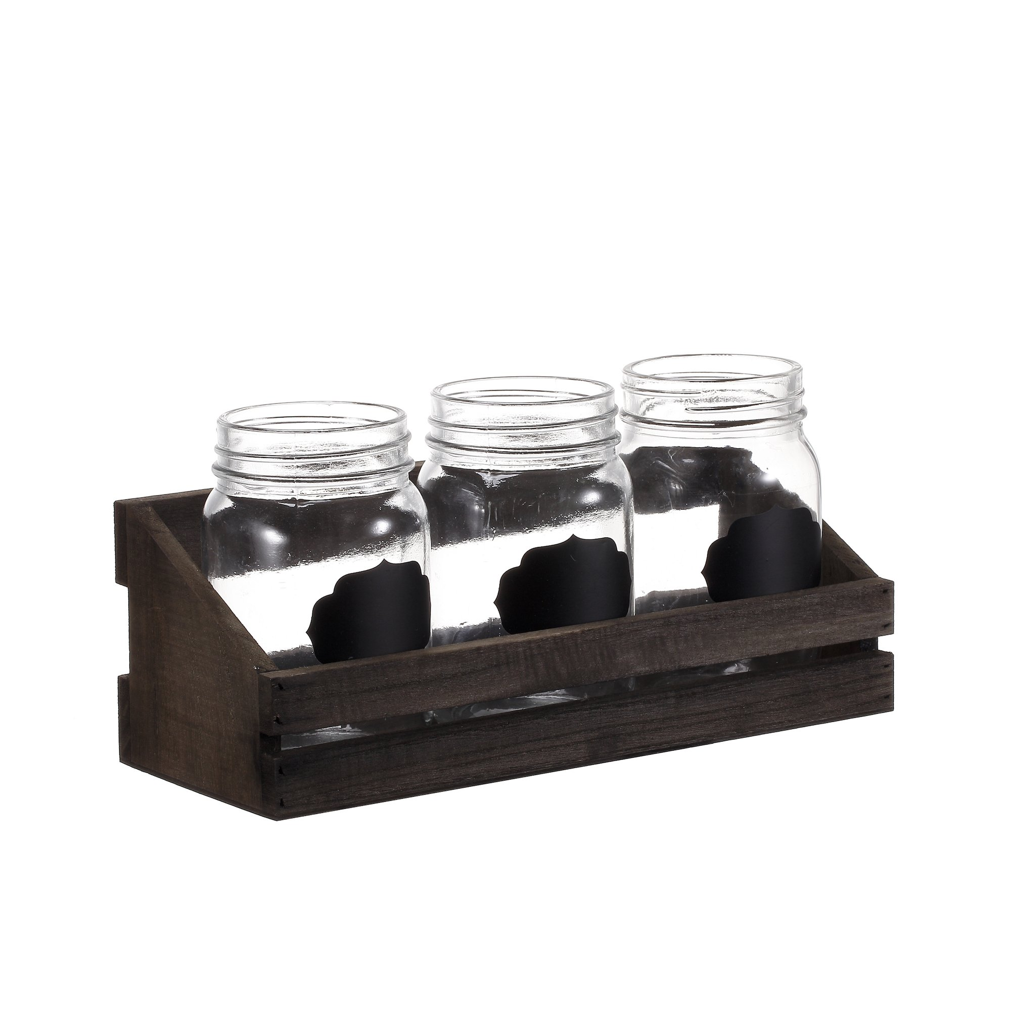 V-More Bud Vase with Chicken Wire Basket V-More Rustic Glass Mason Jar with Chalkboard Label and Wooden Tray 6.5-inch Tall For Home Decor Wedding Party Celebration by V-More Bud Vase with Chicken Wire Basket (Image #3)