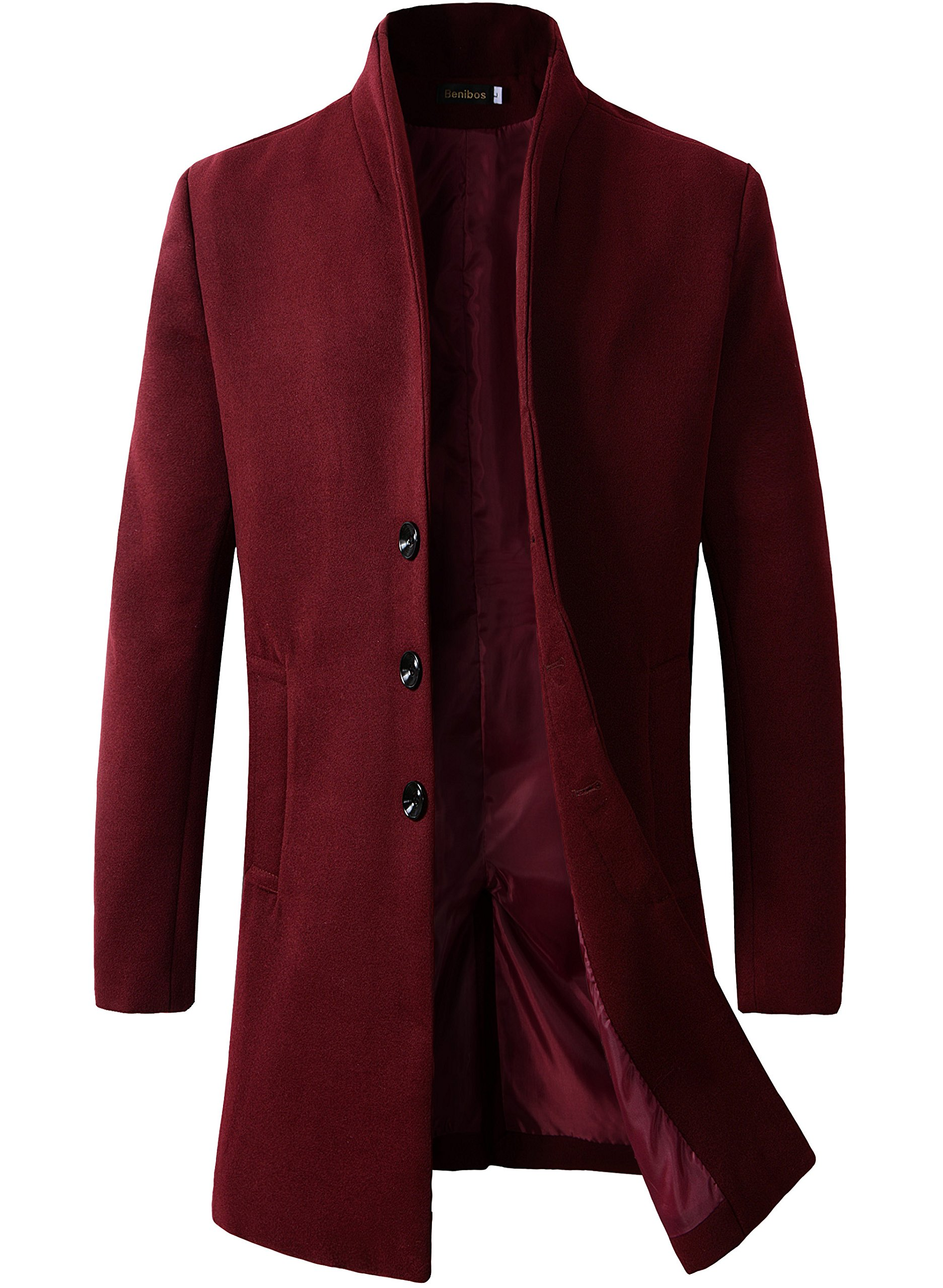 Benibos Men's Trench Coat Winter Long Jacket Button Closer Overcoat (S, 168Burgundy) by Benibos