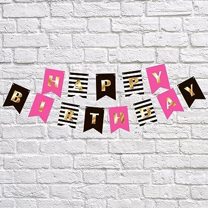 Guirnalda de banderines de cumpleaños premium para niñas, color dorado, rosa, negro, blanco, decoración de fiesta, inspirada en la pala de Kate, en primer lugar, 10, 18, 21, 30, 40, 50, 60, etc.: Amazon.es: Oficina y papelería