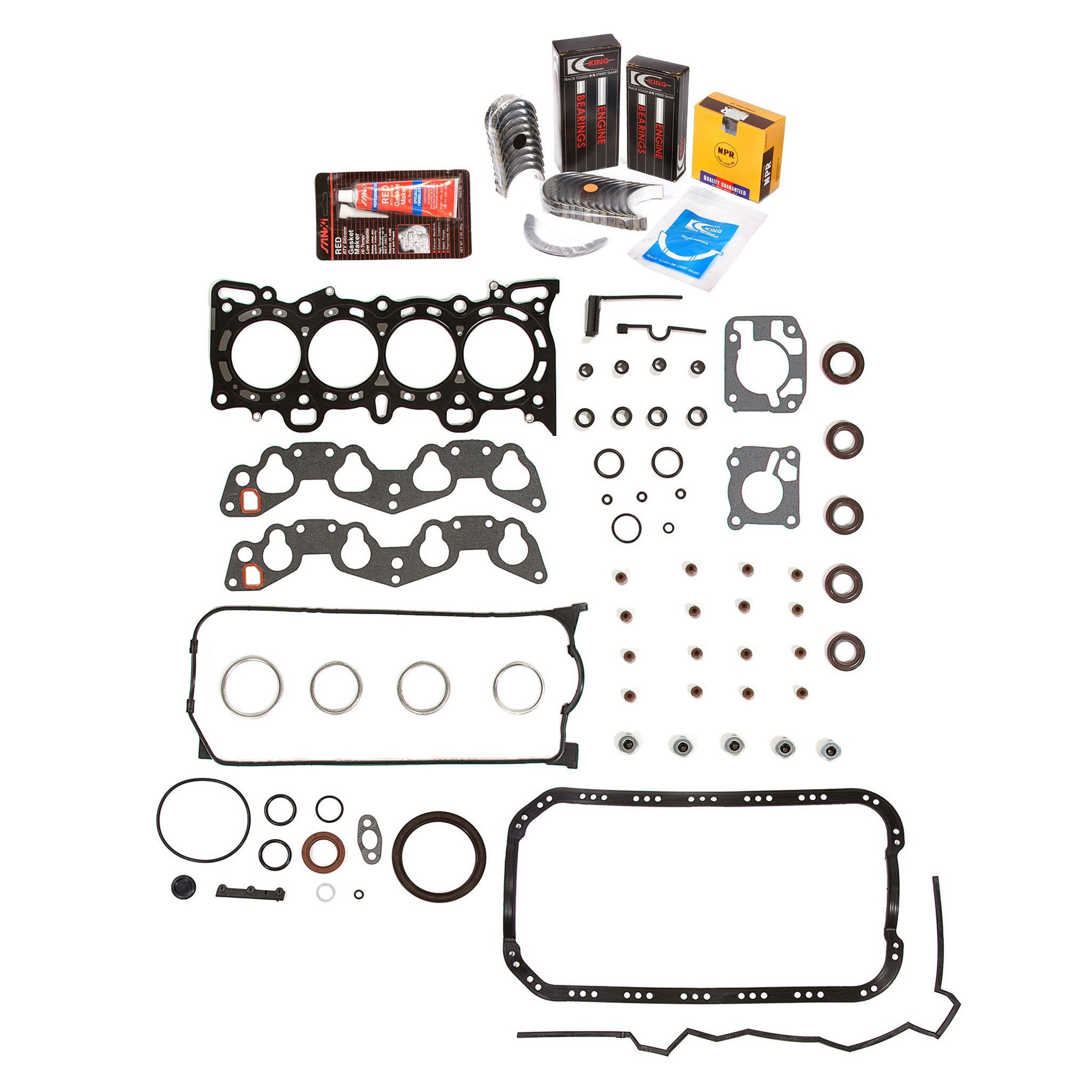Evergreen Engine Rering Kit FSBRR4028 92-95 Honda Civic Del Sol D16Z6 Full Gasket Set, 0.50mm / 0.020'' Oversize Main Rod Bearings, 0.50mm / 0.020'' Oversize Piston Rings by Evergreen Parts And Components