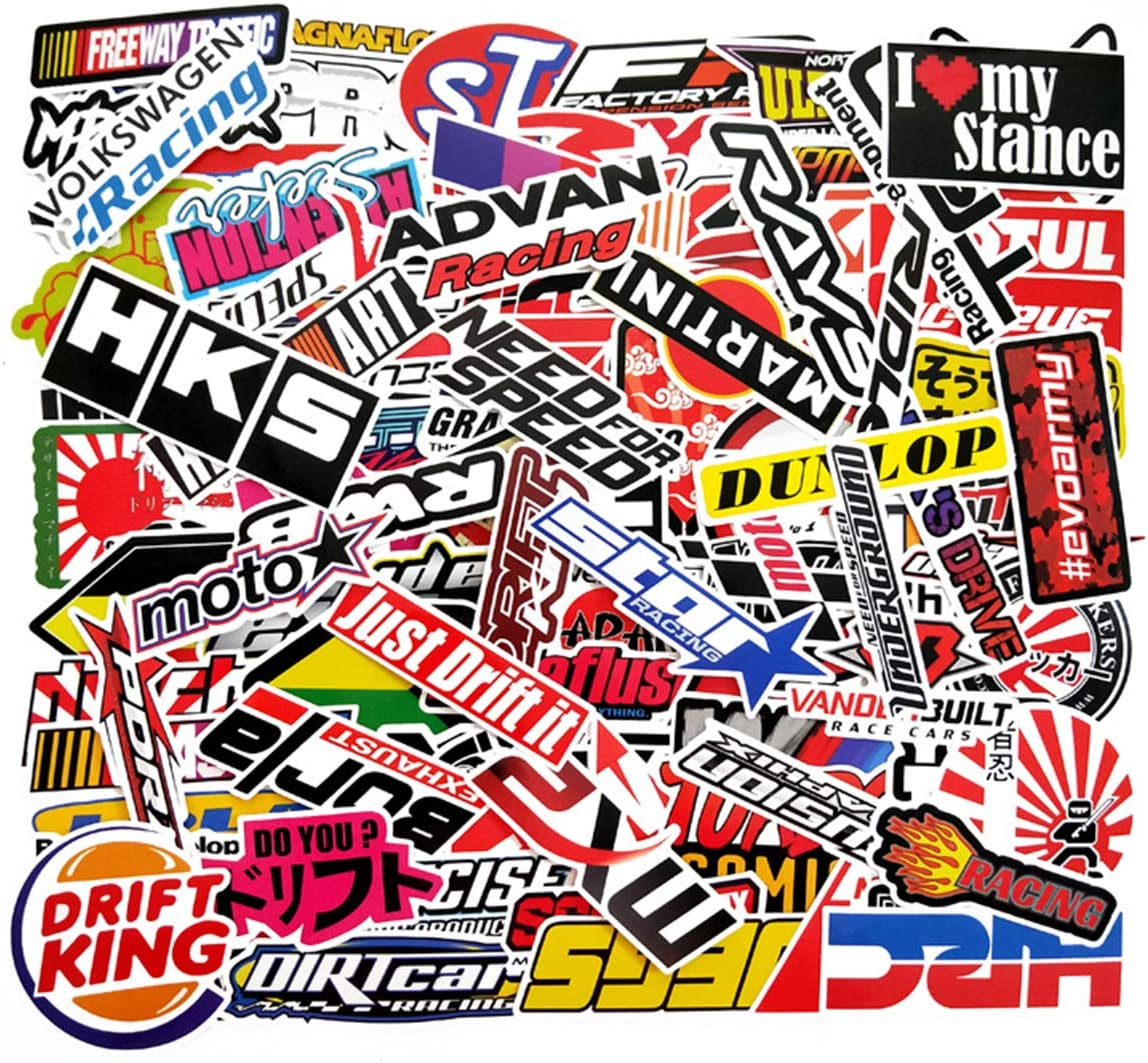 100 PCS Racing Car Stickers Graffiti JDM Car Modification Waterproof Sticker for Motorcycle Bicycle Helmet Phone Case Motor Suitcase Laptop Cute Stickers