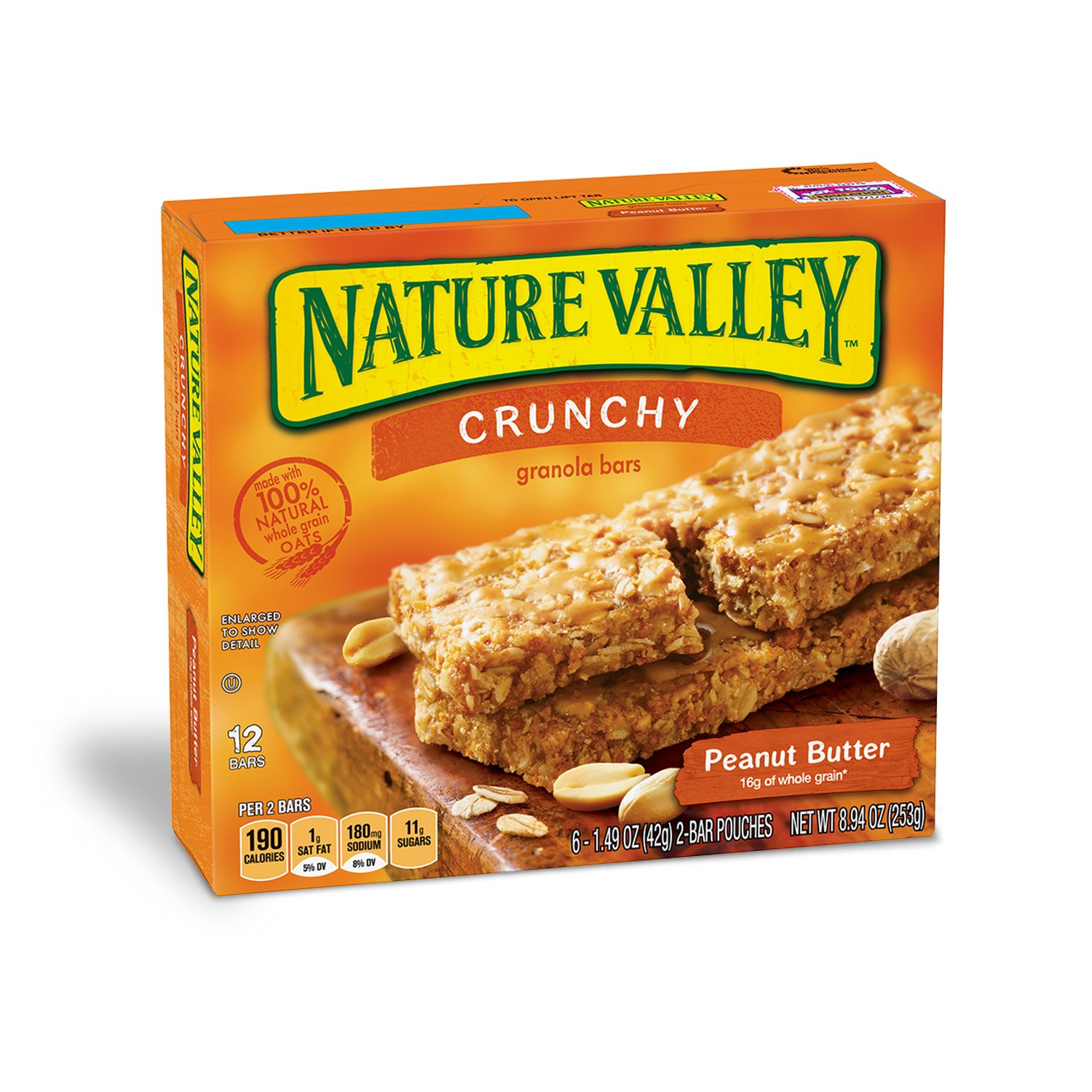 Nature Valley Granola Bars, Crunchy, Peanut Butter, 6 Pouches - 1.49 oz, 2-Bars Per Pouch (Pack of 6) by Nature Valley