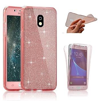 SevenPanda Funda para Samsung Galaxy J7 2016(J710), Funda de Silicona Doble para Samsung J7 Celular Brillo de Cristal Transparente Cristal a Prueba de ...