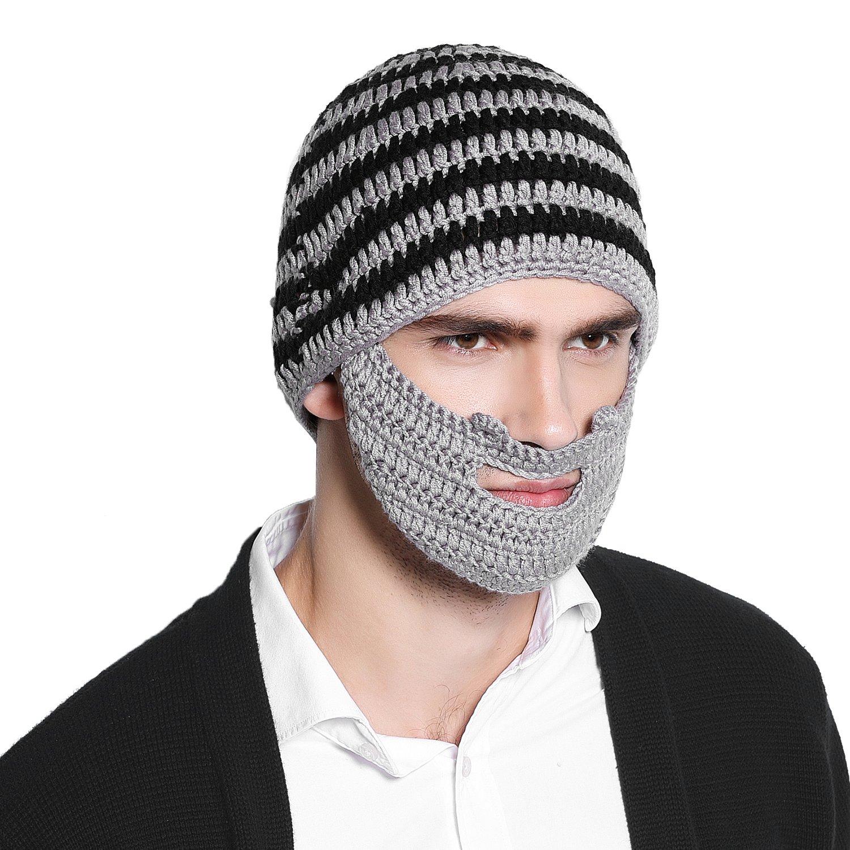 Bienvenu Winter Knit Unisex Beard Beanie Outdoor Hat Cap with Beard Wind  Guard 05e8ecc76