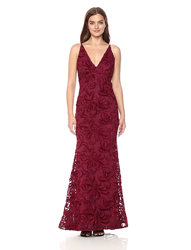 d4b2936c Xscape Women's Long Velvet Soutache Dress at Amazon Women's Clothing store: