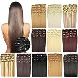 OUBO Clip in Extensions Haarteile für eine komplette ganzen Kopf Haarverlängerung Haarverdichtung glatt 135g 145g hochwertiges dickes Haar 7 Tressen 16 Clips 45cm 55cm Top -8# Goldbraun, 45cm