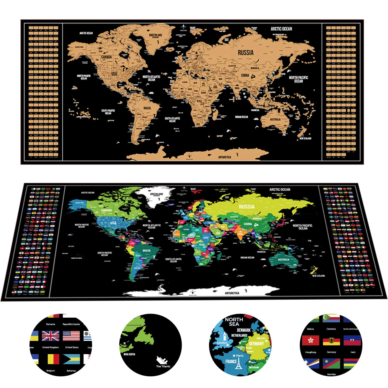 cadeaux de drapeaux de pays comprenant un outil /à gratter de pr/écision et des autocollants pour la m/émoire de voyage Carte du monde /à gratter originale 94 x 40 cm