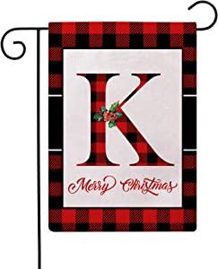 Christmas Plaid Decorative Garden Flags with Monogram Letter K Double Sided Farmhouse Red/Black Buffalo Plaid Winter Holiday Outdoor Garden Flags 12.5×18 Inch for House Garden Yard Patio Decor (K)