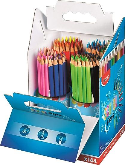 Maped Color Peps - 144 lápices de colores, Bote. Caja transportable. MAPED 832004: Amazon.es: Oficina y papelería