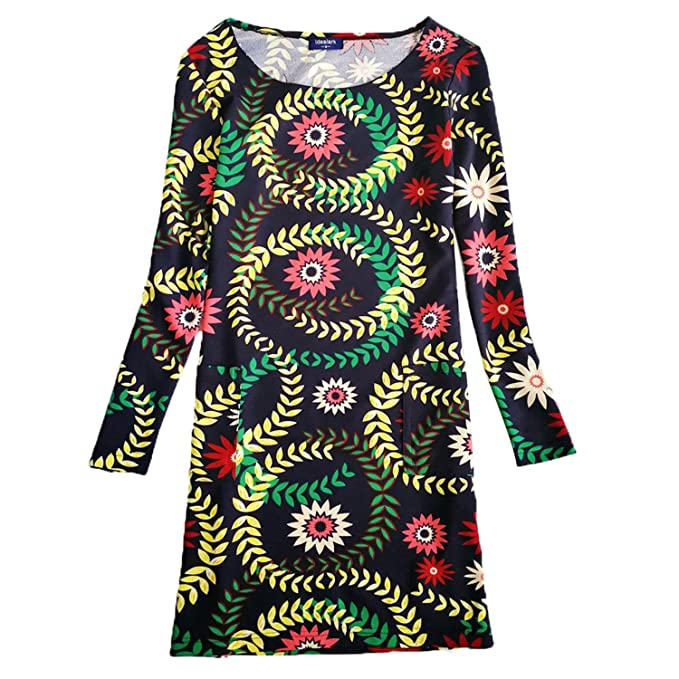 COOCOl New Dress Women Clothing Spring Fashion Flower Print Dress Ladies Long Sleeve Casual Autumn Dresses