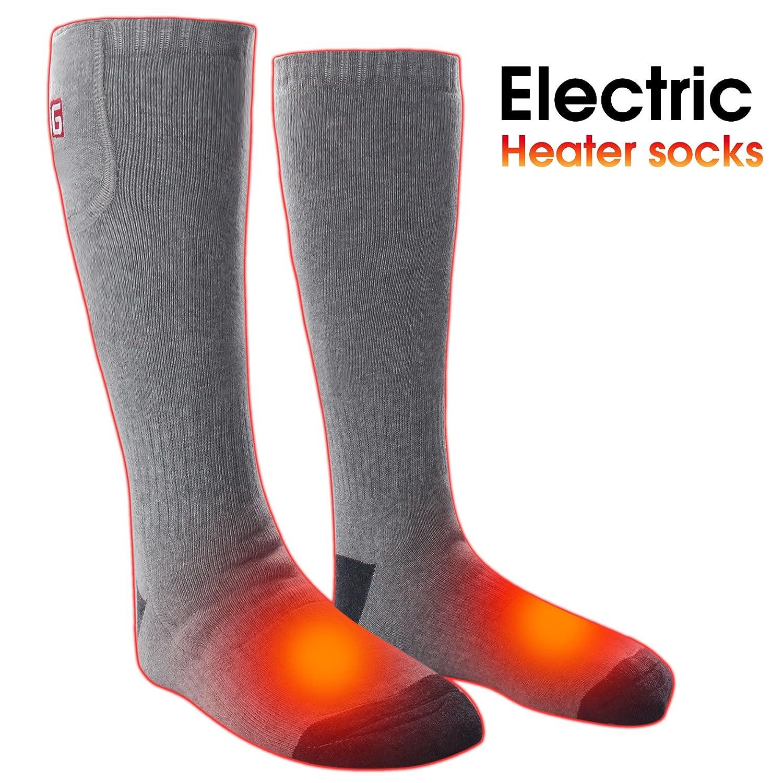 MMlove Unisex Heated Socks for Chronically Cold Feet 2.4V Perfect for Hiking Walking Running Skiing2.4V (Gray)