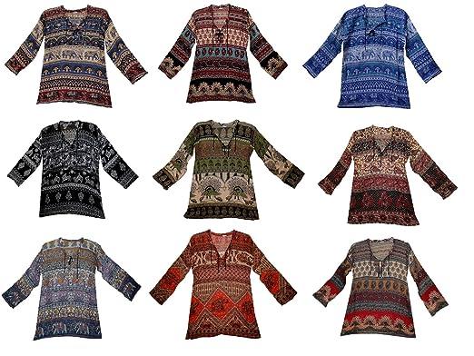 37a95569ac20 Amazon.com: Fashion Of India 10 pc Wholesale Lot Indian Vintage Cotton Top  Women Hippie Blouse Dress Ethnic: Clothing