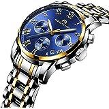 Uomo acciaio cronografo orologi da uomo lusso impermeabile luminoso data calendario analogico conta orologio da uomo sport Business casual Dress orologio da polso con cassa in oro numeri romani quadra