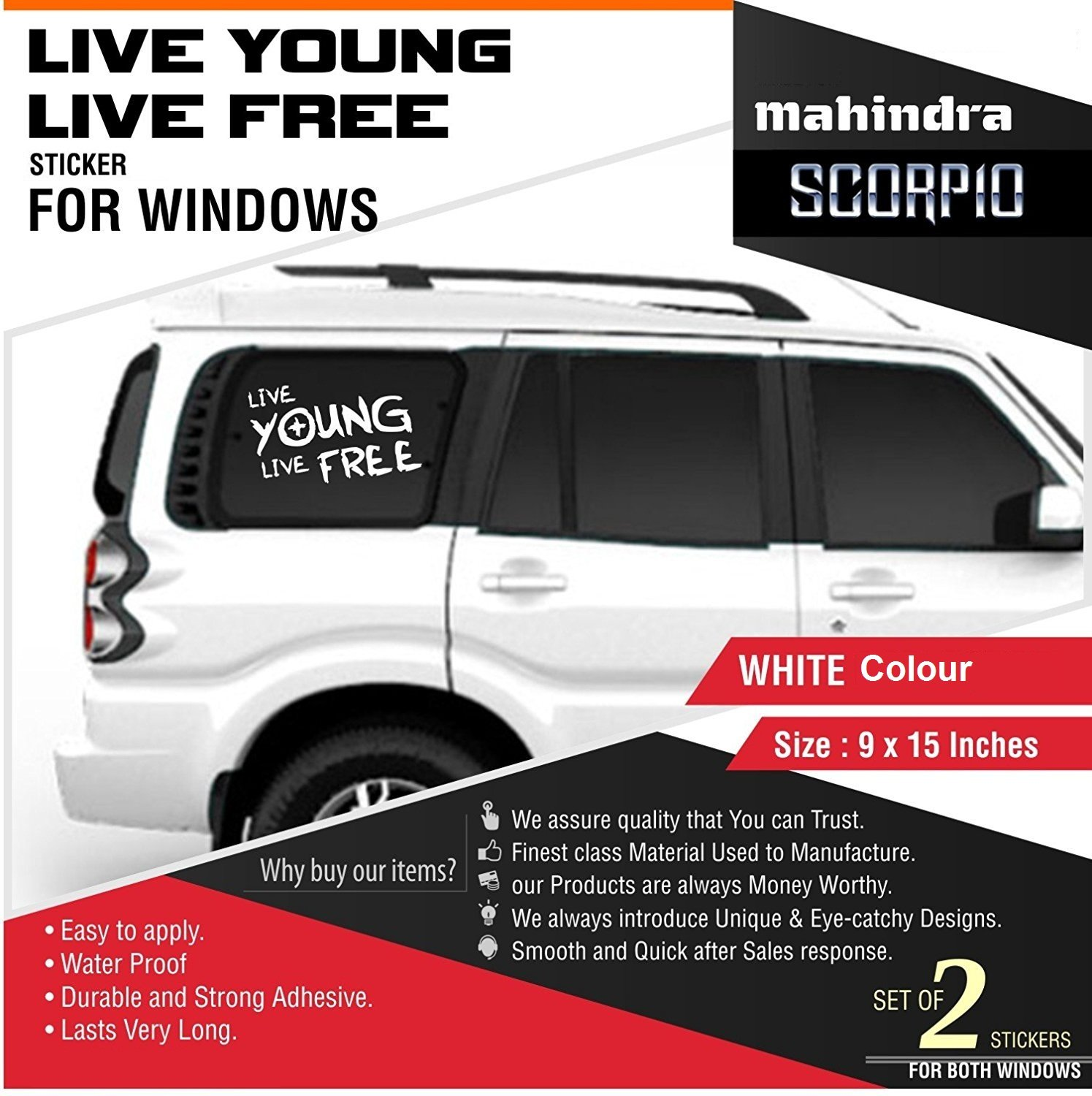 Cvanu door and window side car sticker for mahindra scorpio c102 white pack of 2 amazon in car motorbike