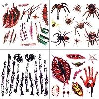 Temporäre Tattoos, METALBAY Tattoo Bögen Blut Halloween Tätowierung Aufkleber Haut Schnitt Wunde Kratzer Knochen temporär Halloween Wasserdichte (4+2 Stücke)