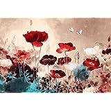 Floral - Stampa su tela, motivo floreale, stile grunge, già montato e pronto da appendere, 76 x 51 cm circa