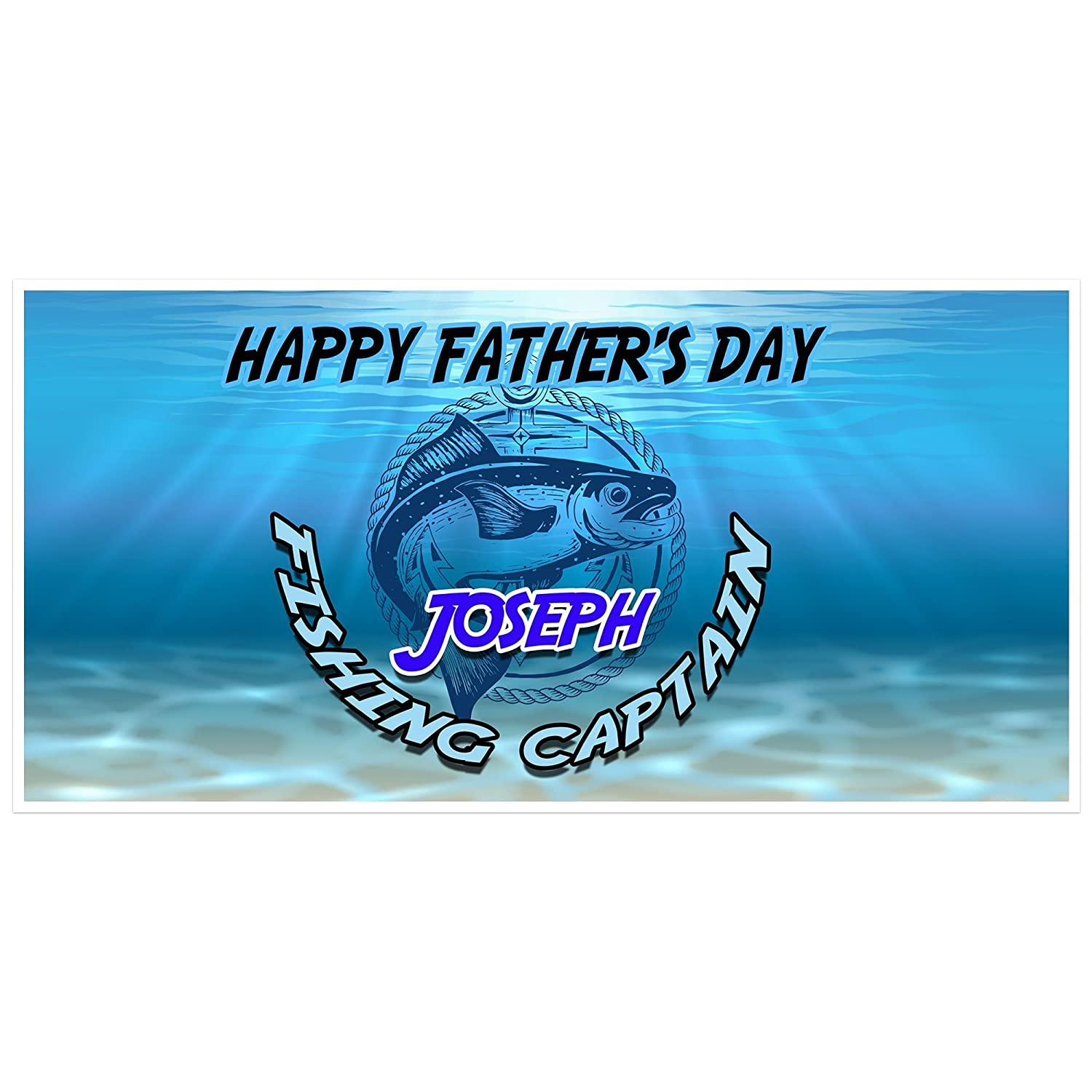 Fishing Captain Fathers Day Personalized Party Banner Decoration