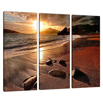 3 Piece Sunset Beach Canvas Art Pictures Living Dining Room 3131