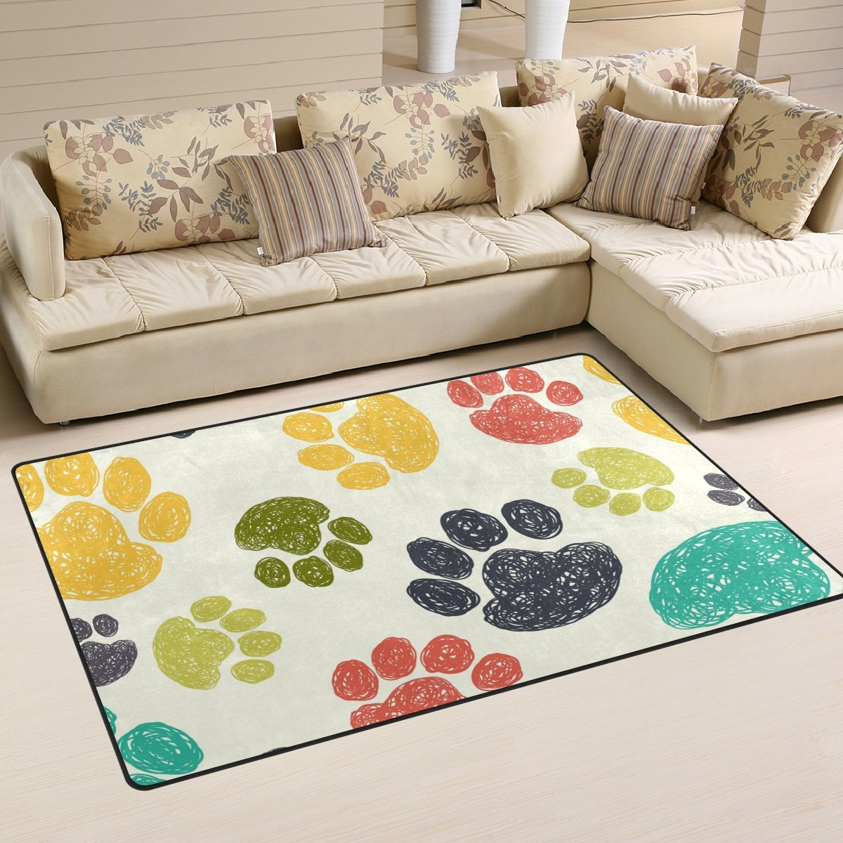 WellLee Area Rug,Cute Paw Print Floor Rug Non-Slip Doormat for Living Dining Dorm Room Bedroom Decor 31x20 inch