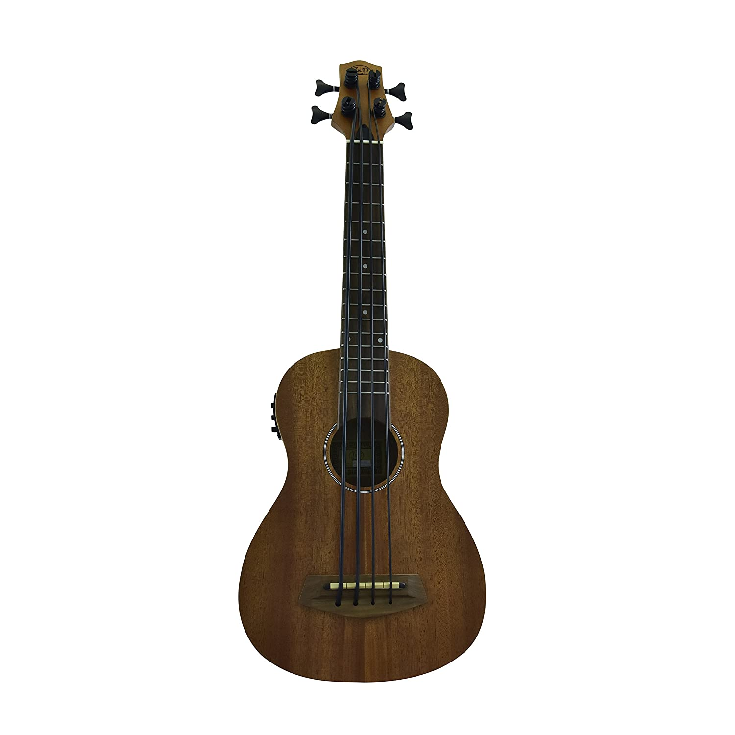 J&D Guitars Acoustic Electric Bass Ukulele with Tuner & EQ, Mahogany Body from CNZ Audio