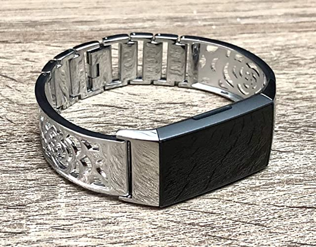 Silver Bracelet for Fitbit Charge 3 Band Women Silver Bangle Flowers Design  Fitbit Charge 3 Bracelet Adjustable Fitbit Charge 3 Wristband