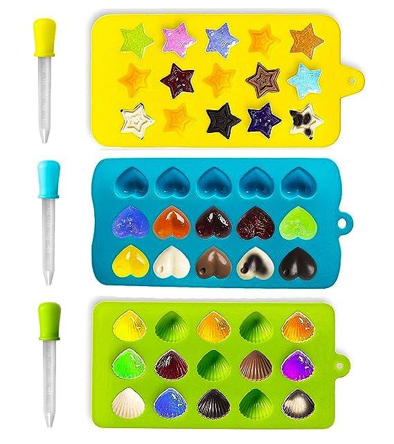 Joyoldelf 3 Stück Süßigkeit Formen & Eiswürfelbehälter mit 3 Dropper für Schokolade - Herzen, Sterne und Muschel - Silikon Sc