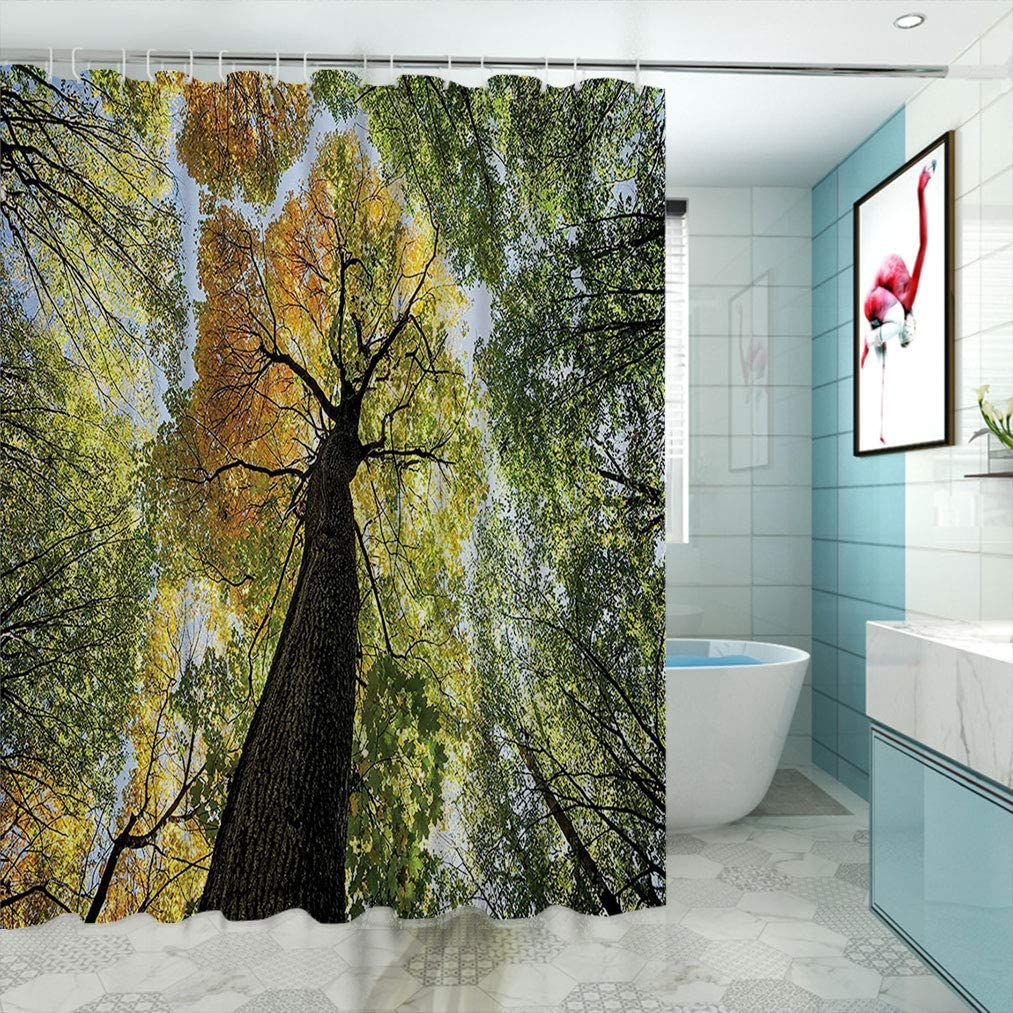 Navy Blue Shower Curtain Ancient Tree in Woods Print for Bathroom