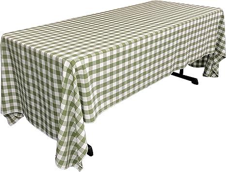 Amazon Com La Linen Rectangular Checkered Tablecloth Apple Green And White 60 X 126 Home Kitchen