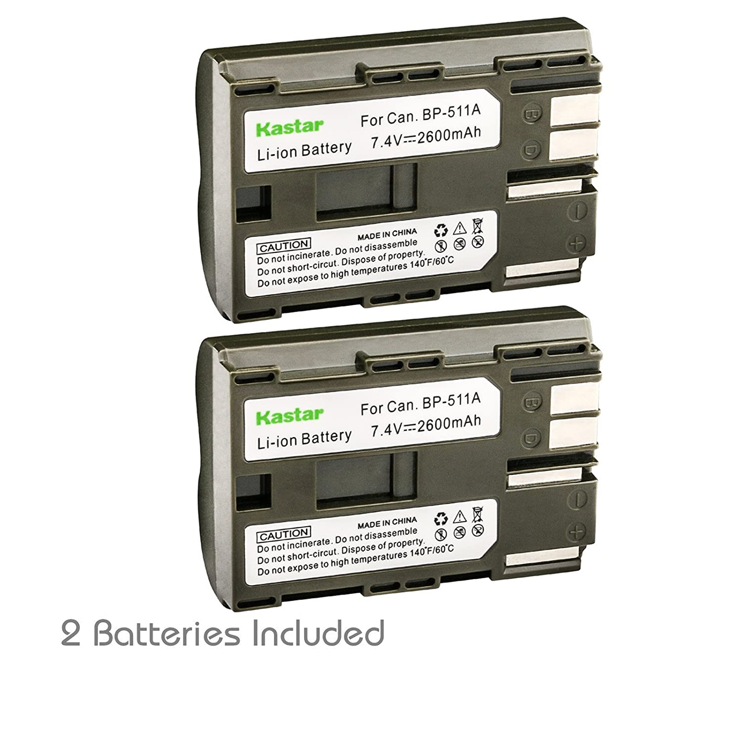 Kastar Battery (2-Pack) for Canon BP-511, BP-511A work with Canon EOS 5D, 10D, 20D, 20Da, 30D, 40D, 50D, 300D, D30, D60, Rebel, PowerShot G1, G2, G3, G3X, G5, G6, Pro 1, Pro 90, Pro 90 IS, FV10, FV100, FV2, FV20, FV200, FV30, FV300, FV40, FV400, FV50, FVM1