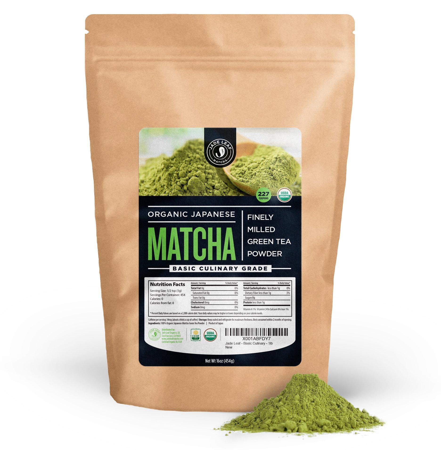 Jade Leaf - Organic Japanese Matcha Green Tea Powder, Basic Culinary Grade - [1lb Bulk Size]