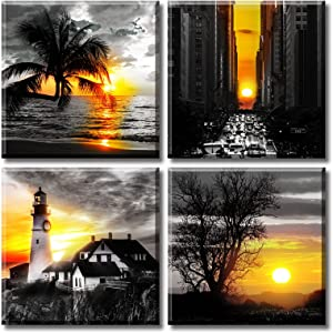 Bedroom Wall Art Lighthouse Decor Canvas Print Black and White Sunset Nature Landscape Picture Painting Modern Artwork Office Bathroom Decoration Poster 12