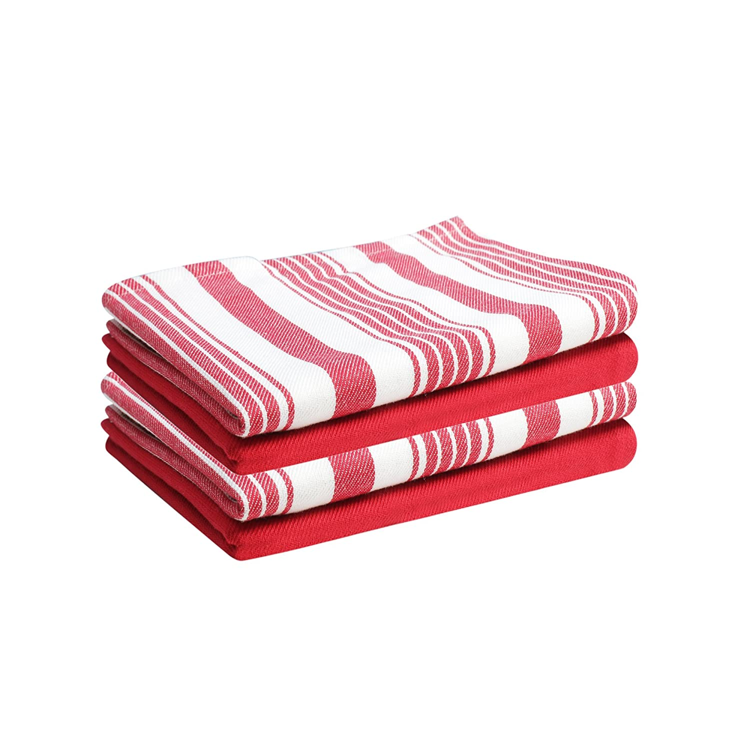 """Set of 4 Kitchen Towels, Stripes & Solid, 100% Cotton, Eco Friendly and Safe, Suitable for All Kitchens, Red/White Color, Size 18""""X26"""" Product of Cote De Amor"""