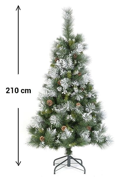 60a98e2a7aa Arbol de Navidad artificial VERDE nevado con nieve semi BLANCO con piñas  Altura 2 m 10