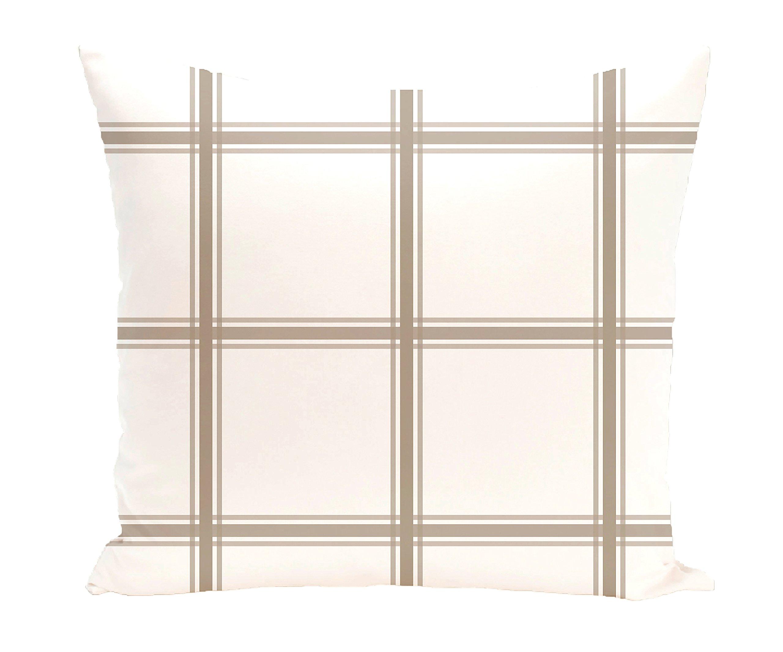 E by design PGN127TA2-26 Windowpane Plaid Geometric Print Pillow, Flax,Taupe