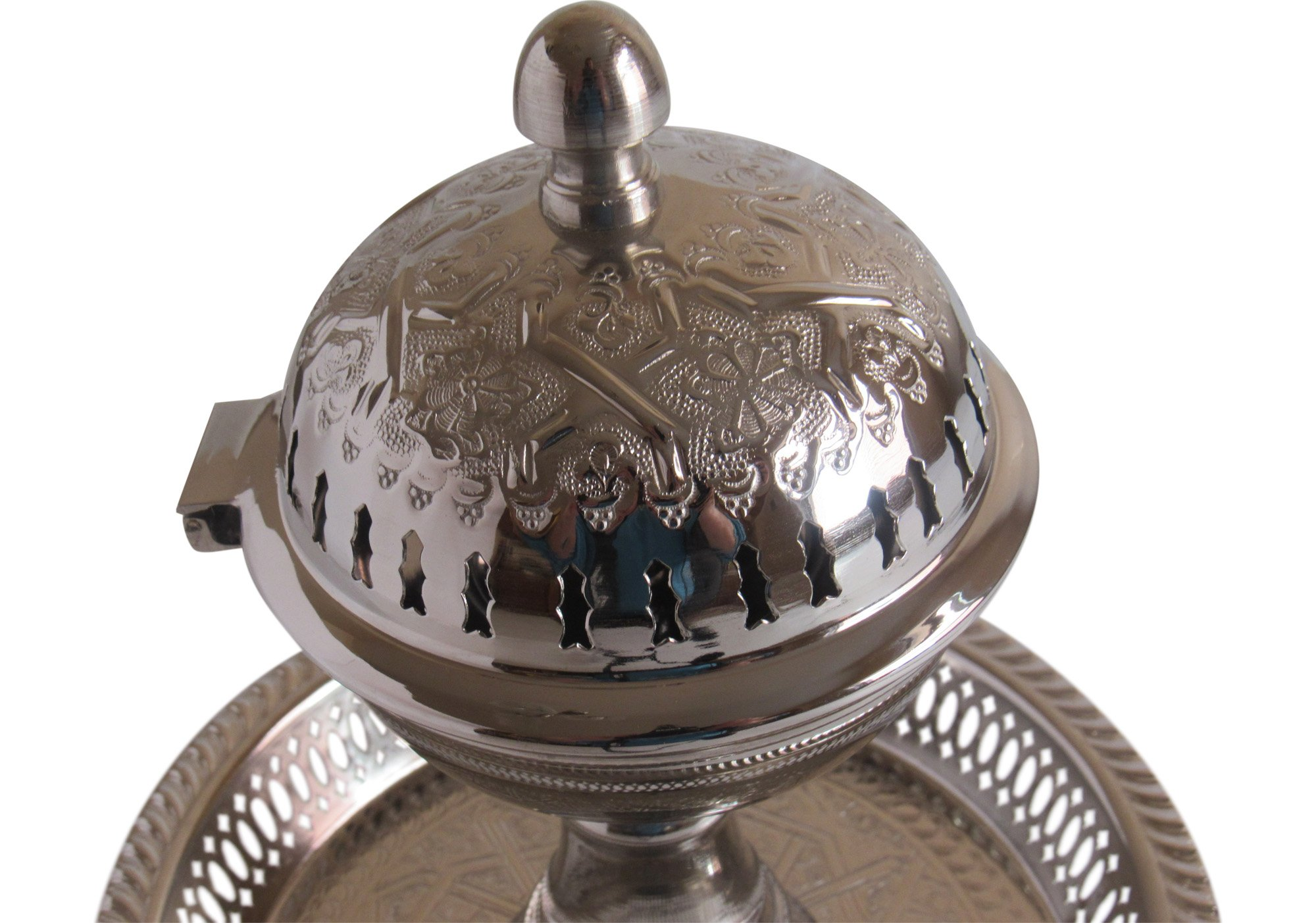 Vintage Styled Handmade Moroccan Silver Plated Engraved Incense Burner with Ash Catcher, Bring Home a Beautifully Functional Near East Tradition, 11x10'' by Handmade Moroccan Teapot (Image #3)