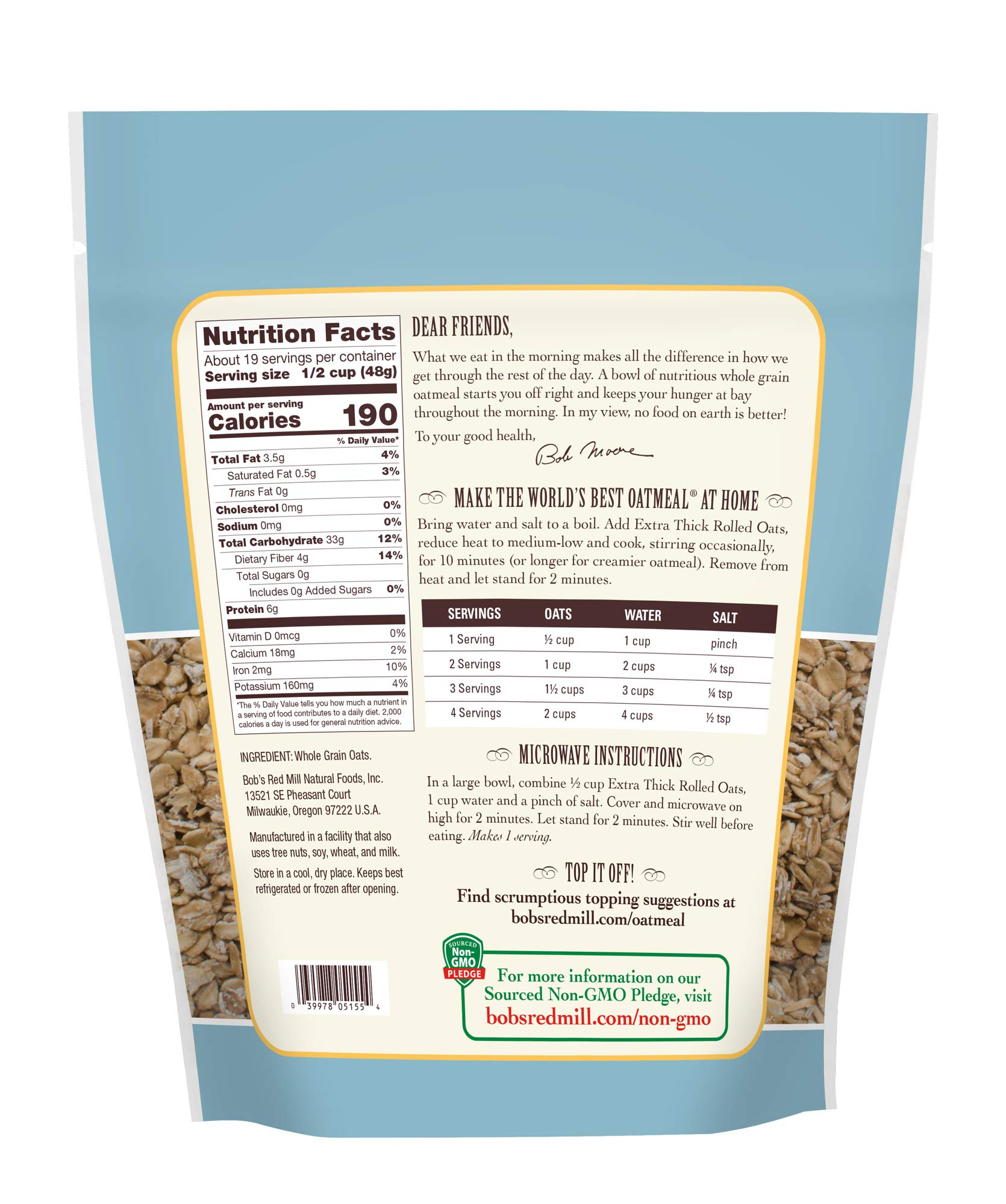 Bob's Red Mill Organic Extra Thick Rolled Oats, 32 Oz (4 Pack) by Bob's Red Mill (Image #4)