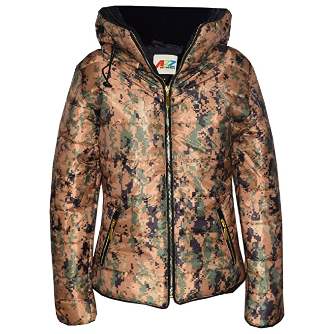 A2Z 4 Kids/® Girls Jacket Kids Stylish Padded Camouflage Print Puffer Bubble Faux Fur Collar Quilted Warm Thick Coat Jackets 3 4 5 6 7 8 9 10 11 12 13 Years