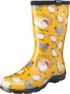 product image for Sloggers Women's Waterproof Rain and Garden Boot with Comfort Insole, Chickens Daffodil Yellow, Size 9, Style 5016CDY09