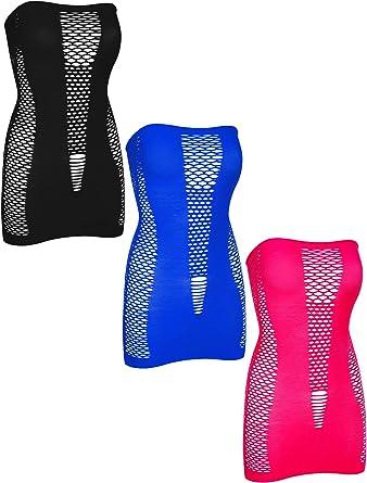 Color Set 3 4 Pieces Women Mesh Lingerie Fishnet Mini Dress Hollow Out Babydoll Bodysuit