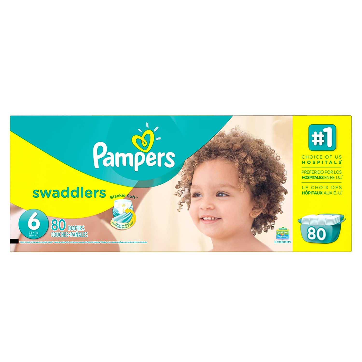 Amazon.com: Pampers Swaddlers Disposable Diapers Size 6, 80 Count, ECONOMY: Health & Personal Care