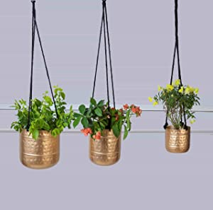 MytriDesigns Hammered Planter Pots, Golden Antique Finish with Rope, Iron Pot, Metal Planter, Succulent Planters, Hanging Flower Plant Pot Indoor, Brass Finish Office Desk Decor - Large