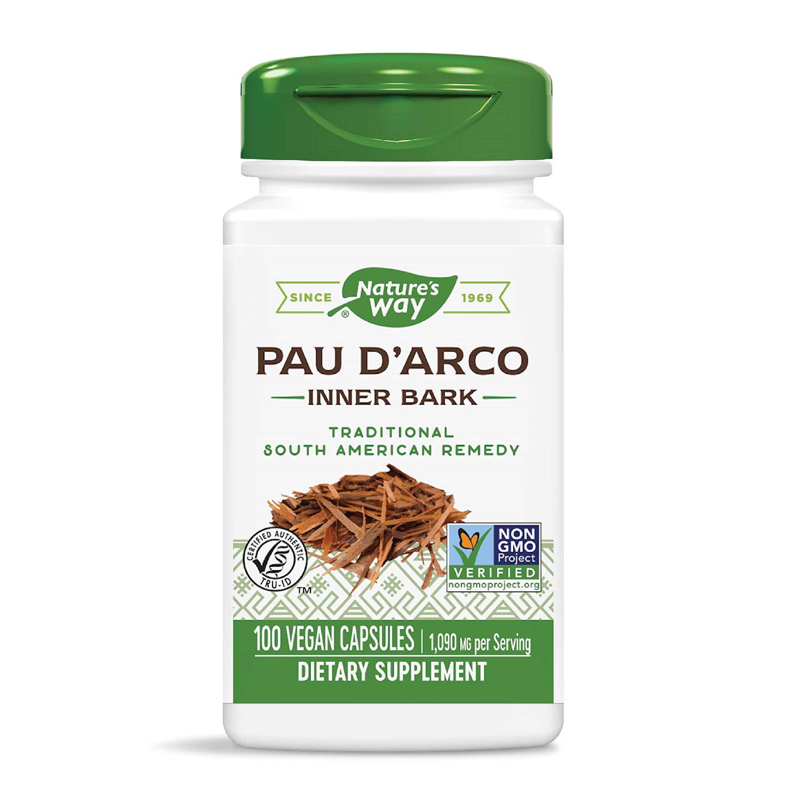 Nature's Way Premium Herbal Pau d'Arco Inner Bark, 1,090 mg per serving, 100 Capsules