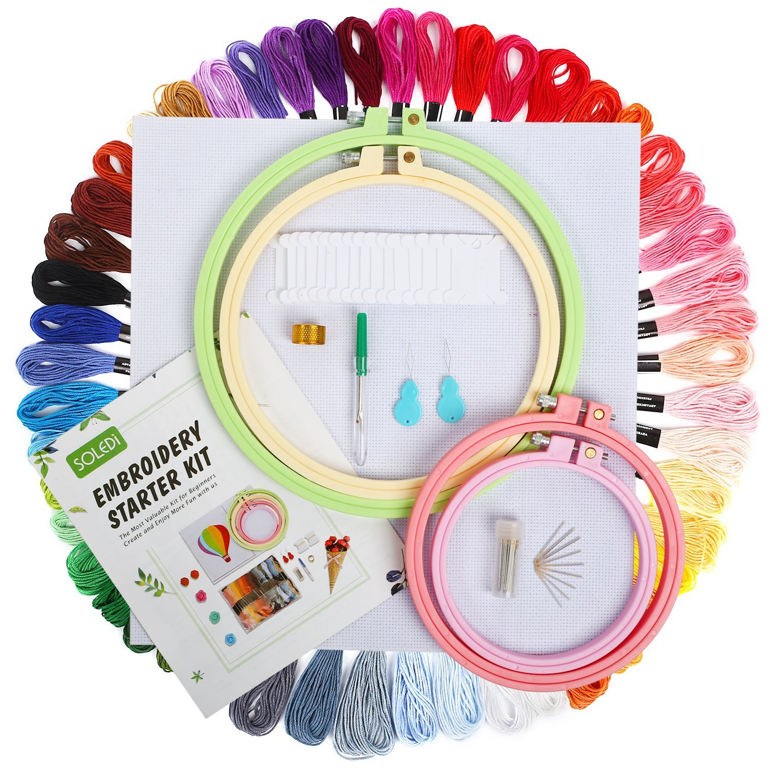 Embroidery Thread Kit Full Range of 50 Skeins Rainbow Color Embroidery floss for beginner with Embroidery Needles 12 x Floss Bobbins and Needle-Threading Tool,As Friendship Bracelets Floss SOLEDI