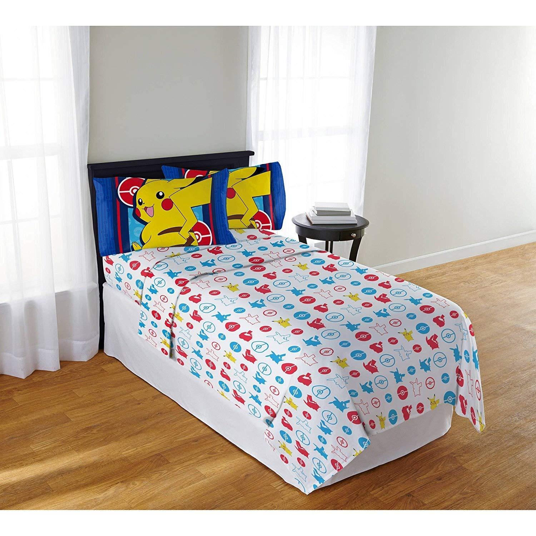 3 Piece Kids Blue Yellow Pokemon Theme Sheets Twin Set, Fun Cute All Over Multi Pikachu Bedding, Children Animated Movies, Stylish Bold Bright Geometric Anime Cartoon Themed Pattern, Vibrant Colors