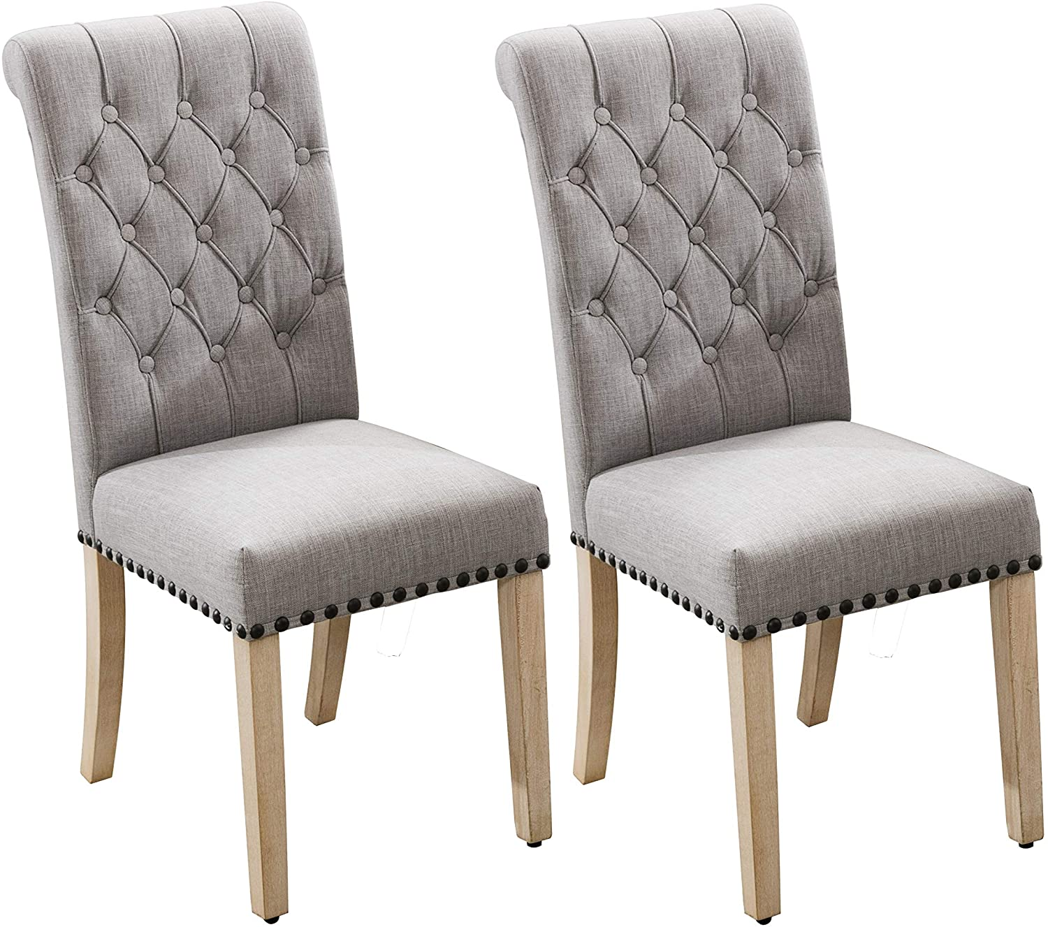 Luxuriour Fabric Dining Chairs,Pekko Kitchen Room with Copper Nails and  Solid Wood Legs Set of 3 (Grey+A)