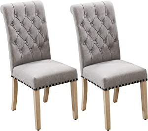 Upholstered Fabric Dining Chairs,Pekko High Back Kitchen and Dining Room Chairs with Copper Nails and Solid Wood Legs Set of 2 (Grey+A)
