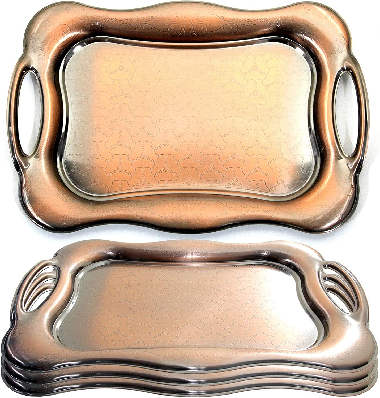 Maro Megastore (paquete de 4) 46 cm x 31 cm Único Rectangular Vintage Iron Metallic Bronce Servir bandeja con asas Tla-030