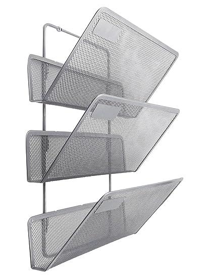 Archivador de metal EasyPAG de tres baldas para montar en la pared, con estantes para