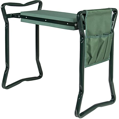 Best Choice Products Foldable Portable Garden Stool Kneeler And Seat  W/Bonus Tool Pouch EVA