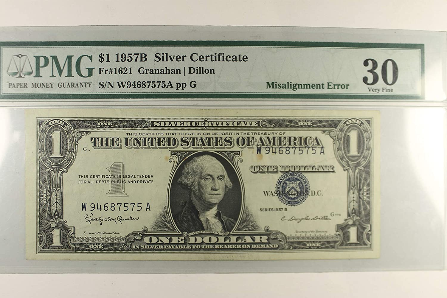 Amazon 1957 B Silver Certificate Misalignment Error 1 Pmg